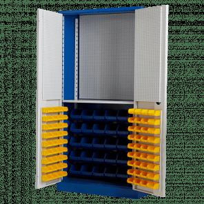 Opbergkast werkplaats - 102 bakken en gereedschapsbord - 200x100x45 cm - GMP-601