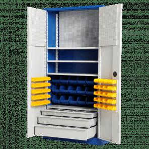 Werkplaatskast met laden - 3 laden - 58 bakken en gereedschapsbord - 200x100x45 cm - GMP-603