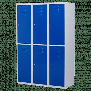 Brede lockerkast 6 deurs 3 delig - hang & leg - 180x120x50 cm - LKP-1056