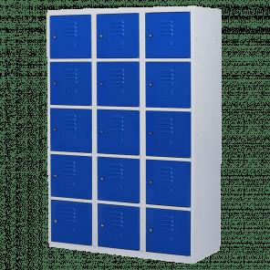 Brede lockerkast 15 deurs 3 delig - 180x120x50 cm - LKP-1065