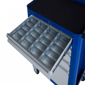 Stalen ladeverdeling gereedschapskar - 20 vaks - 70 mm hoog - GKP-009