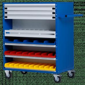 Werkplaatskar - 15 laden - 23 bakken en spuitbushouder - 126x100x60 cm - OMP-609