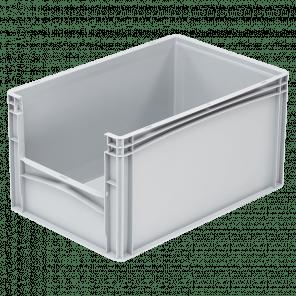 Kunststof stapelkrat grijpopening - 600x400x320 mm - KKP-306
