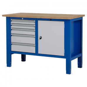 Werktafel - laden & deur - 124x62x85-90 cm - BWP-203