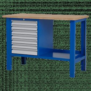 Werktafel - laden & legbord - 124x62x85-90 cm - BWP-208