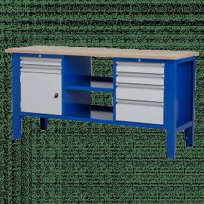 Werktafel - laden & legbord & deur - 176.5x62x85-90 cm - BWP-309