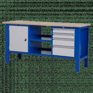 Werktafel - laden & legbord & deur - 176.5x62x85-90 cm - BWP-310