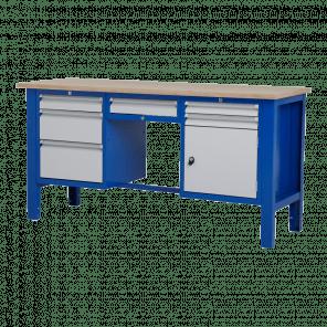 Werktafel - laden & legbord & deur - 176.5x62x85-90 cm - BWP-311