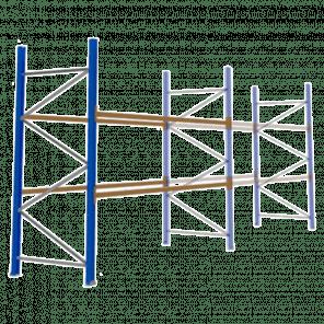 Palletstelling 300x360x113 cm - 2 niveaus - aanbouwmodel - PSP-106